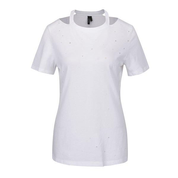 Tricou alb cu aspect uzat și perforații VERO MODA Juniper