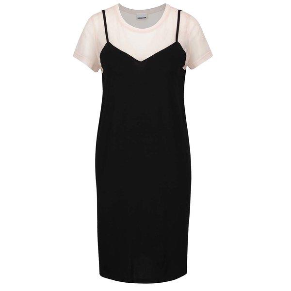 Rochie negru&roz pal Noisy May Trinna cu aspect 2în1