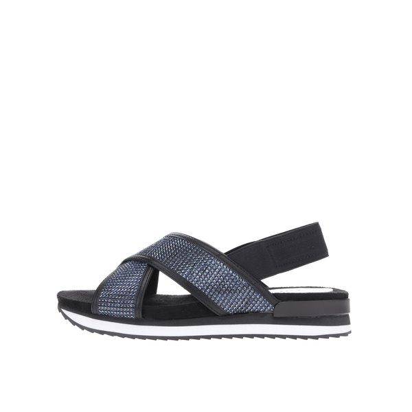 Sandale negre cu ștrasuri albastre și platformă mică Tamaris