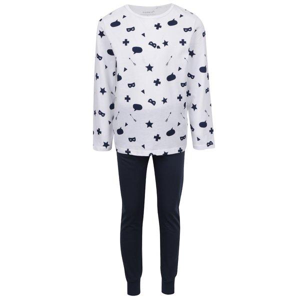 Pijama baieti alb/megru Nameit Night