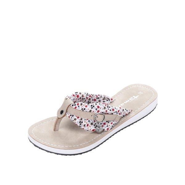 Papuci flip-flop bej cu aplicație textilă și cataramă Tamaris de la Tamaris in categoria șlapin