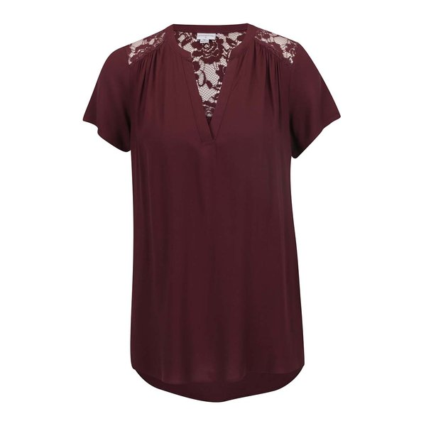 Tricou vișiniu Jacqueline de Yong Liva cu detalii din dantelă de la Jacqueline de Yong in categoria Topuri, tricouri, body-uri
