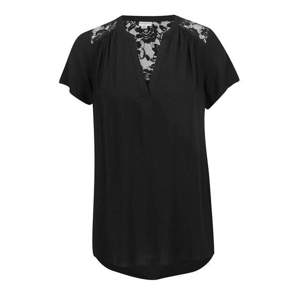 Tricou negru Jacqueline de Yong Liva cu detalii din dantelă de la Jacqueline de Yong in categoria Topuri, tricouri, body-uri