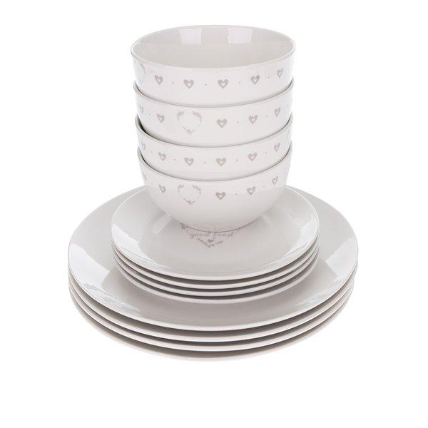 Set alb de 12 piese de vesela Cooksmart cu print