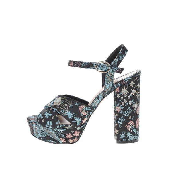 Sandale negre Miss Selfridge cu broderie florală