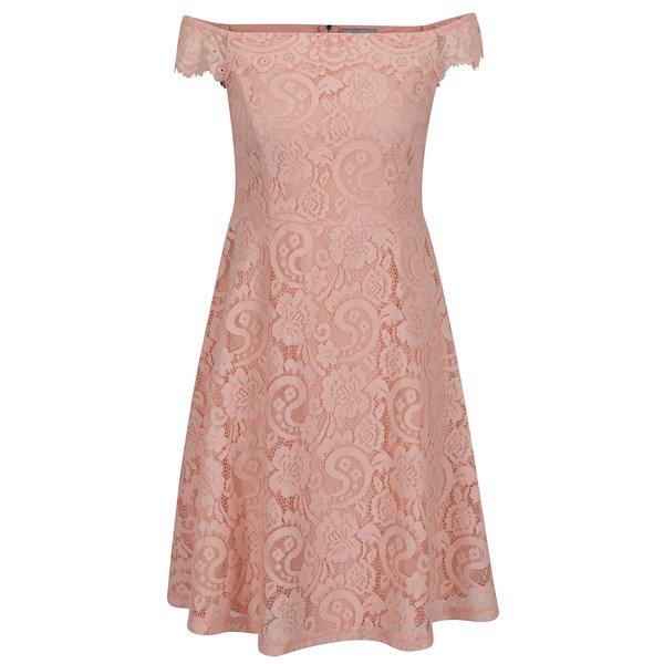 Rochie roz piersică Dorothy Perkins Petite din dantelă