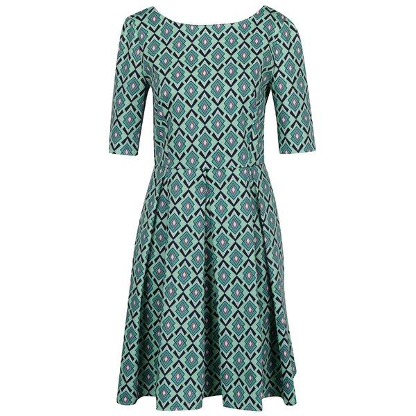 Rochie verde cu imprimeu și mâneci trei sferturi From Kaya with Love Vintage de la From Kaya with Love in categoria rochii casual