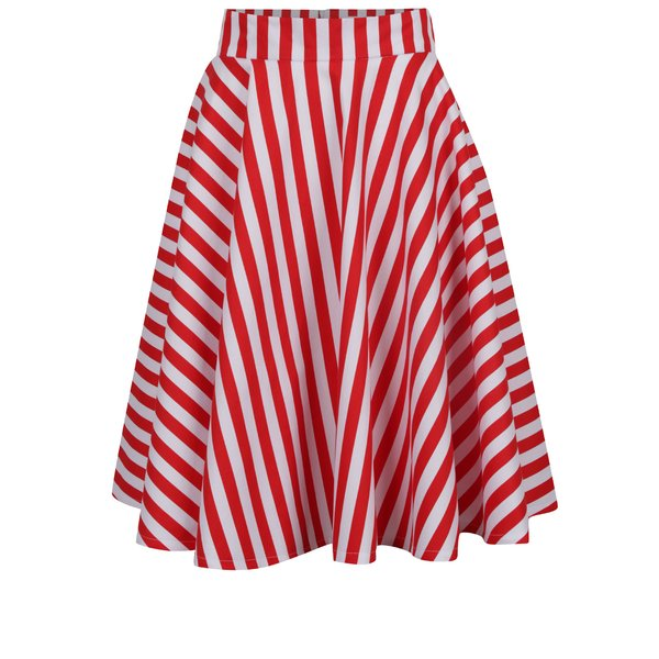Fustă midi alb&roșu cu model în dungi From Kaya with Love American de la From Kaya with Love in categoria Fuste