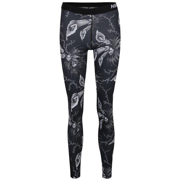 Colanți negru&alb cu print floral pentru femei Nike Pro Warm Tight de la Nike in categoria Blugi, pantaloni, colanți