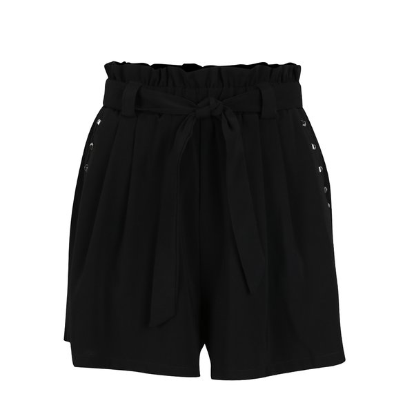 Pantaloni scurți negri Haily´s Mandy cu panglică în talie