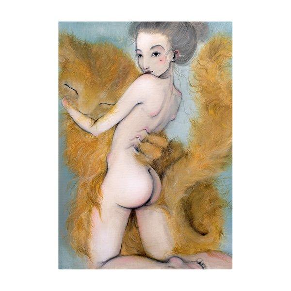 Poster Kocur, in nuante de maron, albastru si crem, Lena Brauner, 50 x 70 cm de la Léna Brauner in categoria CASĂ ȘI DESIGN