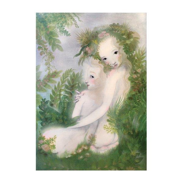 Poster Pospolu, in nuante de verde si crem, Lena Brauner, 50 x 70 cm