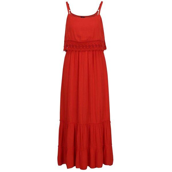 Rochie maxi roșie M&Co cu inserții din dantelă