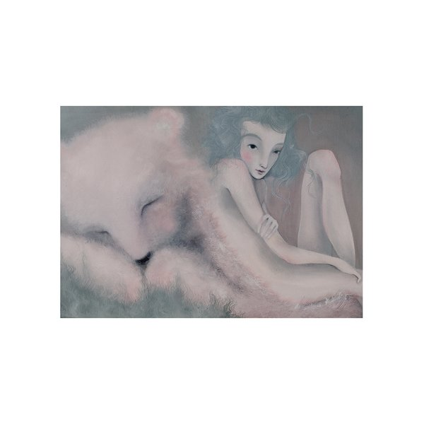 Poster Visul ursului, in nuante de crem si gri, Lena Brauner, 50 x 70 cm de la Léna Brauner in categoria CASĂ ȘI DESIGN