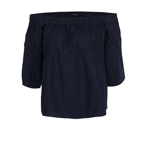 Bluză bleumarin cu decolteu pe umeri și broderie VERO MODA Bella
