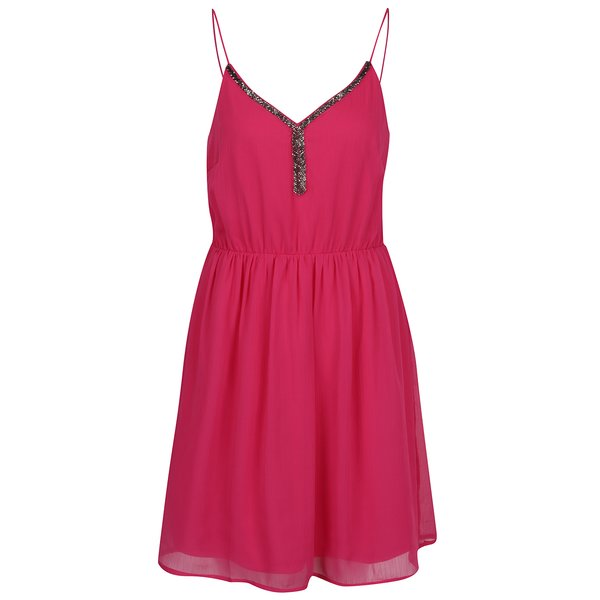 Rochie roz fără mâneci din voal VERO MODA Lupe Bead de la VERO MODA in categoria rochii casual