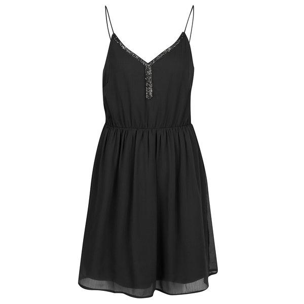 Rochie neagră fără mâneci din voal VERO MODA Lupe Bead de la VERO MODA in categoria rochii casual