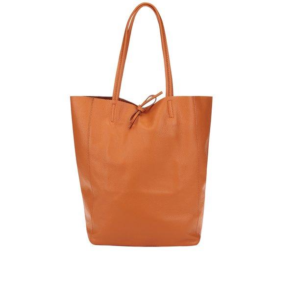 Geanta shopper oranj din piele - ZOOT Simple