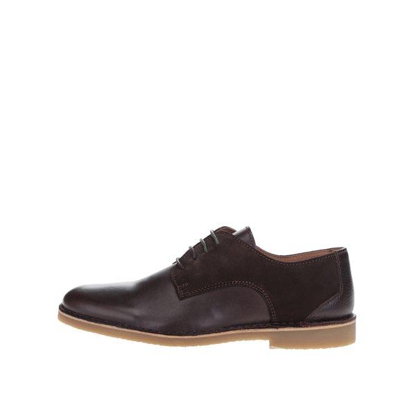 Pantofi maro din piele cu detalii piele intoarsa Selected Homme Royce de la Selected Homme in categoria pantofi și mocasini