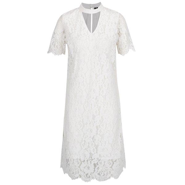 Rochie alb fildeș din dantelă cu mâneci scurte VERO MODA Elvira