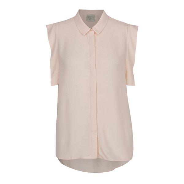 Bluză roz prafuit Selected Femme Palma cu volane decorative
