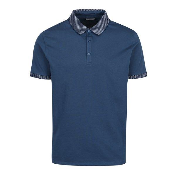 Tricou albastru polo, guler cu model Burton Menswear London