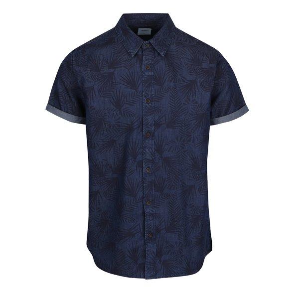 Cămașă albastră Burton Menswear London cu model frunze