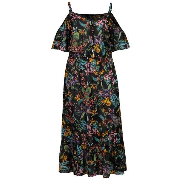 Rochie neagra cu print floral Dorothy Perkins Curve cu decupaj pe umeri