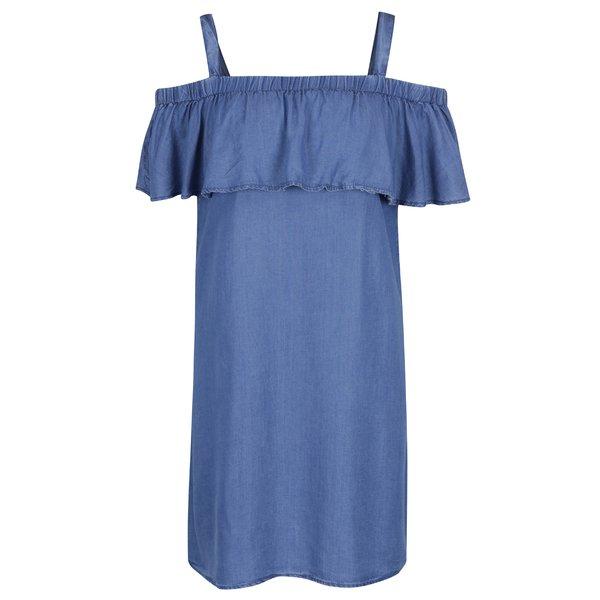Rochie albastră din denim cu volan Dorothy Perkins