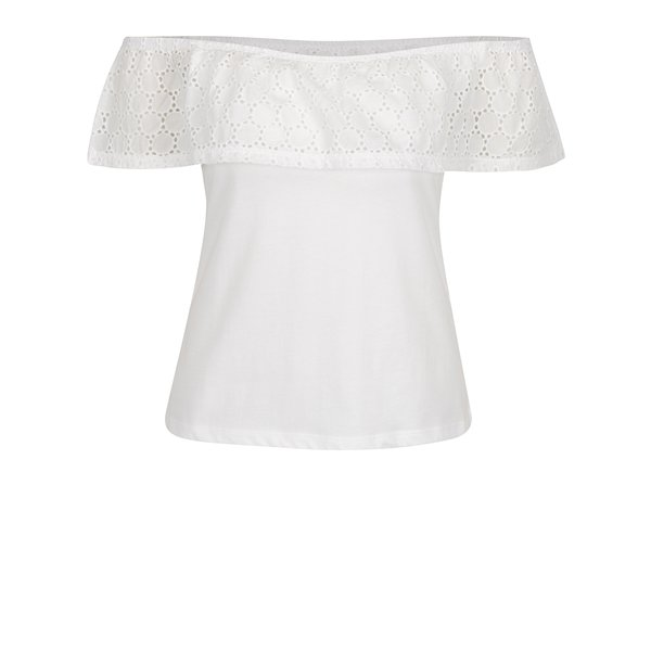 Bluză crem cu volan din broderie spartă Dorothy Perkins Petite de la Dorothy Perkins Petite in categoria Topuri, tricouri, body-uri