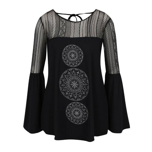 Bluză neagră cu croială cloș Desigual Neusifu de la Desigual in categoria Topuri, tricouri, body-uri