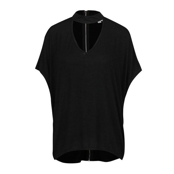 Bluză neagră Apricot cu fermoar decorativ de la Apricot in categoria Topuri, tricouri, body-uri
