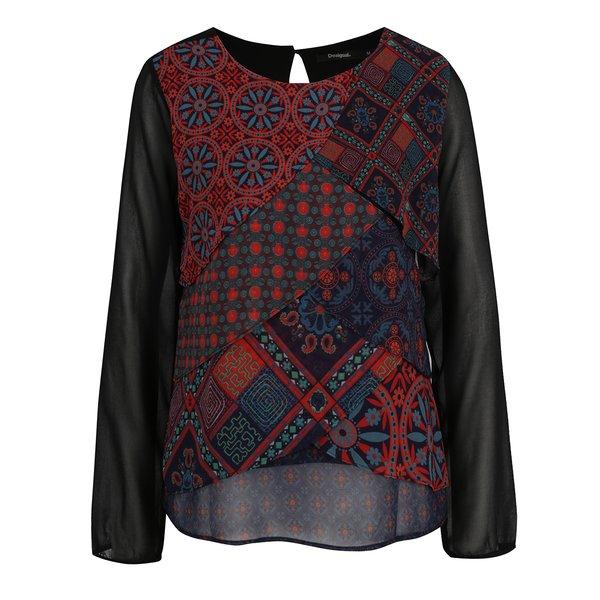 Bluză neagră cu print etno multicolor Desigual Capas Birmania