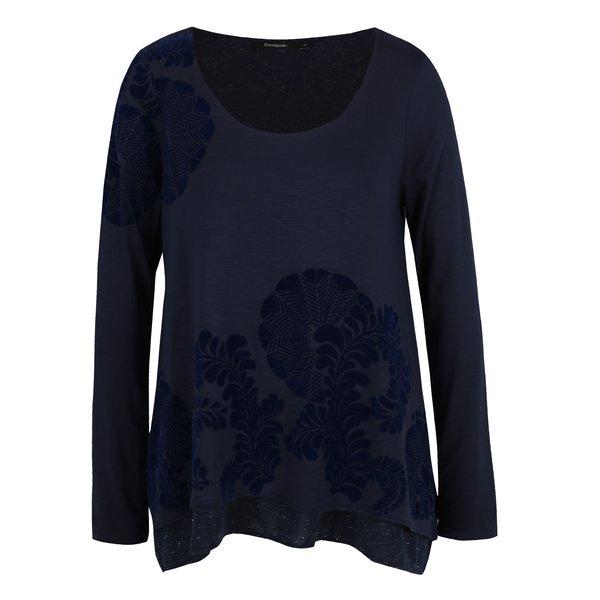 Bluză bleumarin Desigual aplicație din catifea