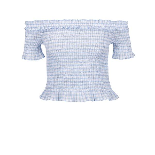 Bluză în carouri albastru cu bej cu inserții elastice Miss Selfridge