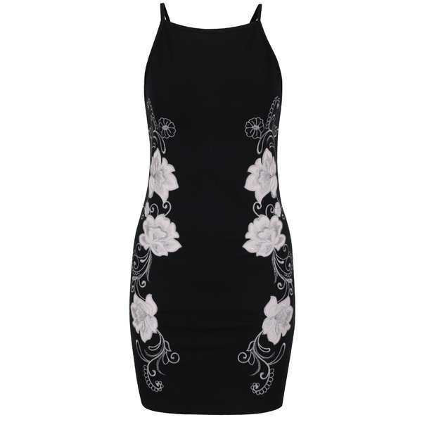 Rochie neagră cu broderie florală Miss Selfridge Petites