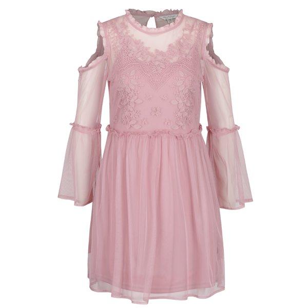 Rochie roz cu decupaj pe umeri Miss Selfridge de la Miss Selfridge in categoria rochii casual