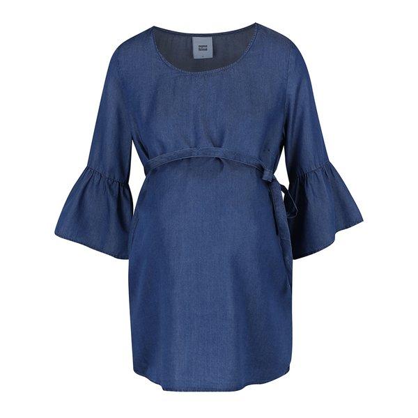 Bluză indigo din denim cu volane Mama.licious Linette