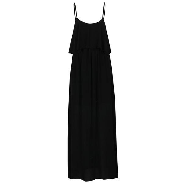 Rochie neagră maxi cu volan ZOOT
