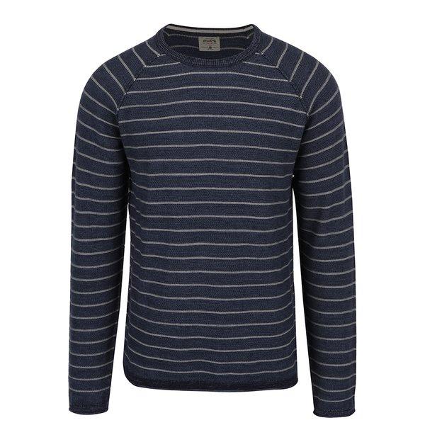 Bluza bleumarin cu dungi crem Jack & Jones Romero