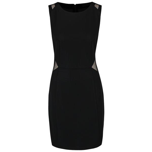 Rochie neagră mulată VILA Starli cu detalii transparente