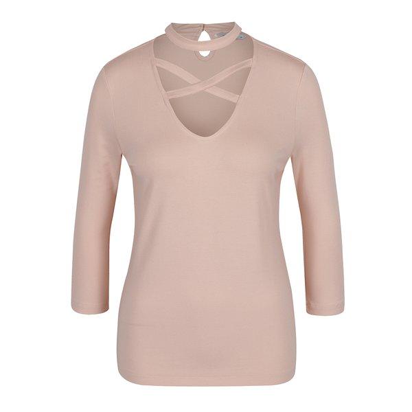 Bluză roz prăfuit cu model choker ONLY Cross