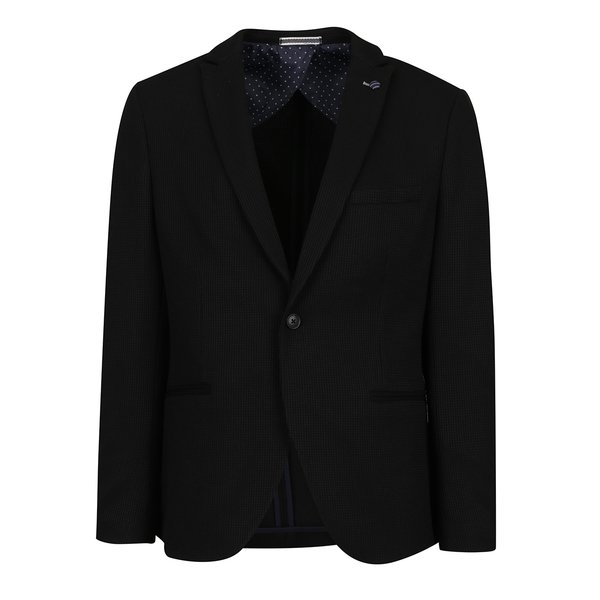 Sacou negru cu model discret Selected Homme Done-Brett de la Selected Homme in categoria Geci, paltoane, jachete