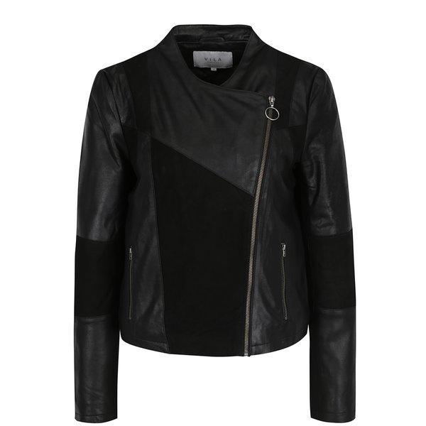 Jachetă neagră din piele cu model asimetric VILA Susan