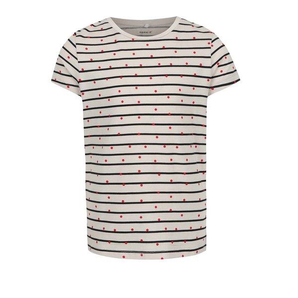 Tricou alb pentru fete Name it Volta print cu dungi și buline de la name it in categoria Tricouri, camasi