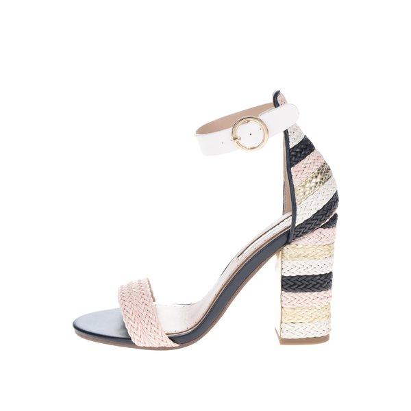 Sandale multicolore cu dungi și toc pătrat Miss KG Ebony