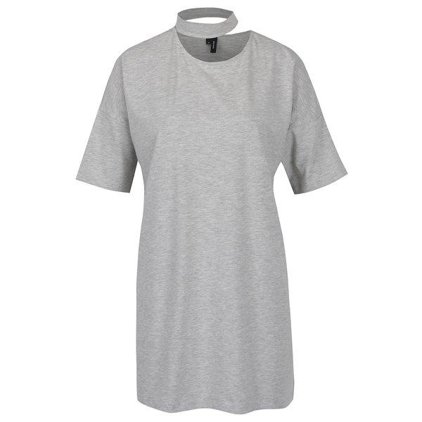 Tricou oversized gri melanj cu choker - VERO MODA Jelica