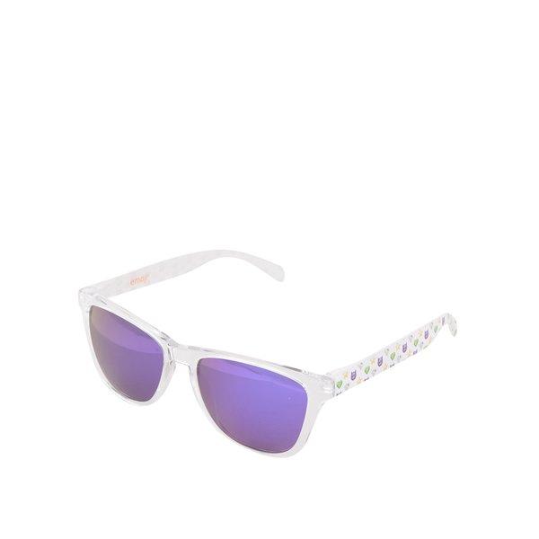Ochelari de soare unisex albi cu ramă transparentă de la Emoji in categoria Accesorii