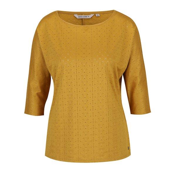 Bluză galben muștar de damă cu model perforat Garcia Jeans de la Garcia Jeans in categoria tricouri