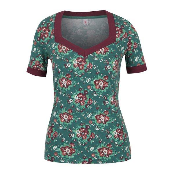 Tricou verde cu print floral Blutsgeschwister de la Blutsgeschwister in categoria tricouri